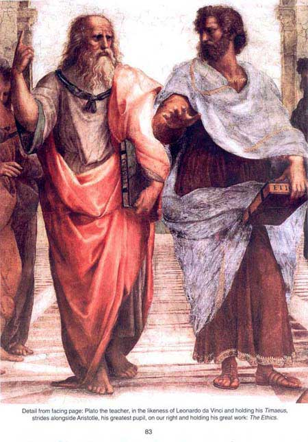 Plato (our left) and Aristotle (right)